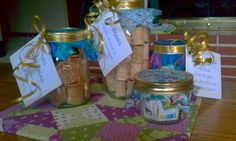 Gifts of 50 in jars for a 50th wedding anniversary party.