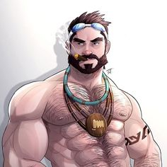 Character of the month May 2016 Fan art :Graves from League of legends  Can find another version on my patreon page   #leagueoflegends #graves #hairyman #musclebear #beard #bear #gayart #gayillustration #character #smoker #muscle #gamer #bara