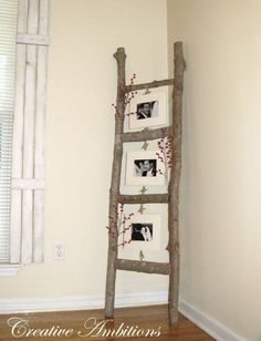 40 Rustic Home Decor Ideas You Can Build Yourself -  Rustic photo ladder