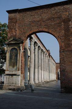 The colonnade outside Basilica di San Lorenzo. Milan Italy
