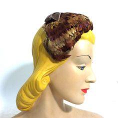 Autumnal Pheasant Feather Hat circa 1960s - Dorothea's Closet Vintage