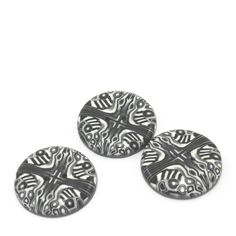 Polymer clay buttons, handmade buttons in Black, White and Greys, dots and stripes unique pattern, set of 3 big buttons. $7.50, via Etsy.