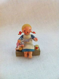 Vintage girl sewing Wendt and Kuhn from East Germany by Comforte, $12.00