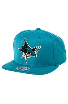 The San Jose Sharks Logo Snapback Hat in Teal by Mitchell & Ness