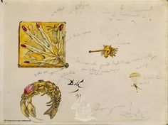 """Study for the jewels: """"Leaf Veined Case"""", """"Unicorn"""", """"Lobster Bracelet"""" and """"Mobile"""", 1949.  1949  Pencil and gouache on cardboard  26.50 x 35.00 cm."""