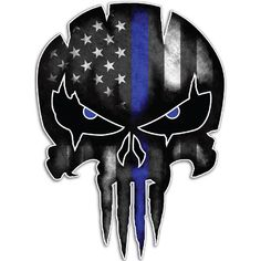 Online Shop YJZT Thin Blue Line Punisher Skull Reflective Personalized Car Stickers Motorcycle Decals Punisher Skull Decal, Punisher Tattoo, Punisher Logo, Thin Blue Line Decal, Thin Blue Line Flag, Thin Blue Lines, Skull Stencil, Skull Art, Skull Flag