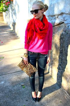 Leopard flat clutch - red and pink combo ❤ - Womanfashion Pink Fashion, Love Fashion, Fashion Outfits, Style Fashion, Womens Fashion, Pull Rose, Fall Outfits, Cute Outfits, Red And Pink