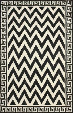 Marcial 100% Wool Area Rug in Black design by NuLoom   Greek Key and Chevron