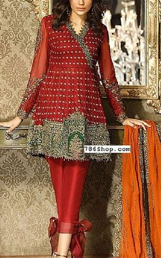 Red Chiffon Suit   Buy Asim Jofa Pakistani Dresses and Clothing online in USA, UK