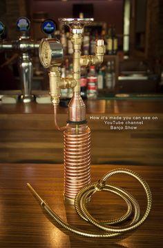 Steampunk Industrial Pipe Hookah With Working Pressure Gauge Diy Hookah, Hookah Lounge, Hookahs, Bottle Bong, Snapchat, Glass Bongs, Pressure Gauge, Cafe Shop, Industrial Pipe