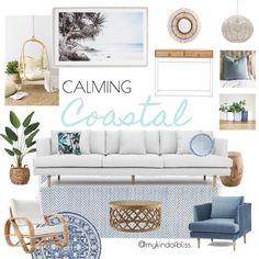 calming coastal, my kind of bliss, boho style, hamptons, pom pom, cane furniture, bohemian, mood board, coastal decor, interior design, interior stylist, bedroom, australian designer, property stylist, living room inspo, coastal styling, home decor, linen, white room, palm, zanui, homewares, cushions, sofa, room design, beach house, coastal home