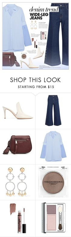 """Flare Up: Wide-Leg Jeans"" by alves-nogueira ❤ liked on Polyvore featuring Gianvito Rossi, STELLA McCARTNEY, Marc Jacobs, Maison Margiela, Eddie Borgo, NYX, Clinique, polyvoreeditorial, denimtrend and widelegjeans"