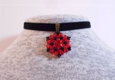 Red crystal choker Choker necklace Beaded rondelle by KrysDoings