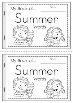 My Book of... Summer Words. A half-page vocabulary booklet to make learning new words fun!