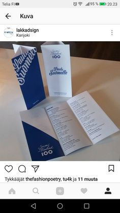 Käsiohjelma Suomi100 konserttiin Design by Laura Paasivirta #brochure #blue #white #finland #suomi #design #graphicdesign My Arts, Cards Against Humanity, Design