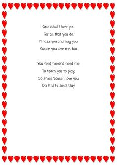 Happy Hands Belcoo Childminder Father's day printable for hand-print with poem for Granddad