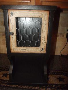 Primitive Crackle Wood Cupboard, Shelf w/ Door ~ Black Star ~ Country Decor #NaivePrimitive