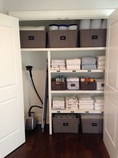 organizational ideas for small spaces linen closet divisions hardwood floor bask. - organizational ideas for small spaces linen closet divisions hardwood floor baskets towel double wi - Hall Cupboard, Linen Cupboard, Cupboard Design, Cupboard Storage, Airing Cupboard Organisation, Cupboard Makeover, Laundry Cupboard, Utility Cupboard, Wooden Cupboard