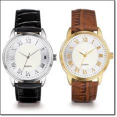 "Casual Luxe Men's Watch* 9 1/2"" L leatherlike strap, black/silvertone or brown/goldtone. http://jgoertzen.avonrepresentative.com/"