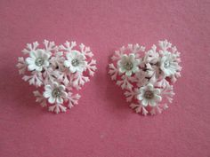 $18.00 Vintage HUGE White Pink  Lacey Pliable Plastic Flower  Clip Earrings Rhinestone Centers On Original Card by JEANIESPLACE on Etsy