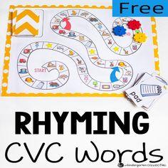 CVC Rhyming Words Board Game - The Kindergarten Connection