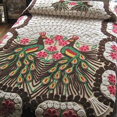 Vintage Peacock Chenille Bedspread from BarkingSandsVintage