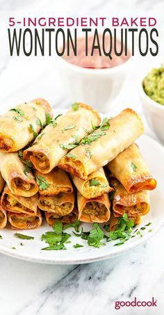 You'll be amazed at how easy these Baked Wonton Chicken Taquitos are. They're perfect for a quick and tasty weeknight meal or for an appetizer to enjoy during your favorite sports game. Shredded chicken is super versatile for weeknight dinners, Baked Wontons, Chicken Wontons, Baked Chicken, Creamy Chicken, Chicken Wonton Tacos, Chicken Taquitos Baked, Wonton Recipes, Mexican Food Recipes, Appetizer Recipes