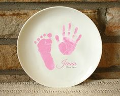 Hand and Footprint Plate - Ceramic plate offered in 3 sizes. Custom made with your child's actual prints! Send us prints captured on paper, and we do the rest. Check out our Ink-less Print Kit and capture your prints. All keepsake kiln fired and created to last forever! www.myforeverprints.com