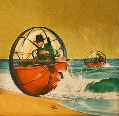 A new water sport wheel!Science and Invention in Fiction Science Fiction Art, Pulp Fiction, New Science Inventions, Foto Picture, World Of Tomorrow, Sci Fi Fantasy, Sci Fi Art, Dieselpunk, Cyberpunk