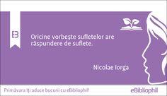 """""""Oricine vorbește sufletelor are răspundere de suflete."""" Nicolae Iorga"""