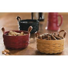 """When you need a smaller basket, this is the one you'll reach for! Use this versatile basket in the kitchen for coffee filters, serving dips, sauces and cheese when you add the protector. Great in the bath for soaps and potpourri. Pair with the Darning Basket for the perfect chip and dip combo! The Woven Traditions® 6"""" Pie Plate and Soup & Salad Bowl fit perfectly inside the Button Basket. Protector available separately. Made in the U.S.A. 7""""d x 3""""; Rec. Wt. Use: 4 lbs."""