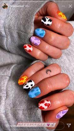 Really Short Nails, Really Cute Nails, Acrylic Nails Coffin Short, Coffin Nails, Winter Nails, Spring Nails, Dance Nails, Nailart, Cow Nails