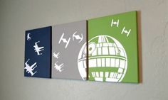 Star Wars canvas wall art acrylic paint vinyl 11x14 by HeartforHandmade