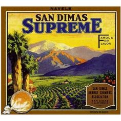 San Dimas, Los Angeles County Supreme Yellow Orange Citrus Fruit Crate Box Label Art Print