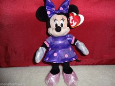 """TY Beanie Babies - Disney Sparkle - MINNIE MOUSE Purple 8"""" Tall New with Tags #Ty"""
