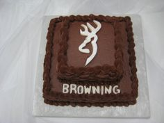 Browning Deer Grooms Cake Chocolate fudge icing baskwetweave and fondant accents. Cupcake Frosting, Cupcake Cakes, Cupcakes, Chocolate Fudge Icing, Camo Cakes, Redneck Party, Wild Game Recipes, Dessert Recipes, Desserts