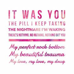You punched a hole in the wall and I framed it, I wish I could feel things like you. Beautiful Trauma ~ P! True Love Lyrics, Cool Lyrics, Music Lyrics, Music Songs, Mental Illness Quotes, Trauma Quotes, Wedding Song Playlist, Pink Lyrics, Pink Quotes