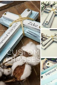 Handcrafted farmhouse style custom crosses. For Baptism, Christening, First Holy Communion, New baby, Wedding, Family keepsake, or Pastor Gift. Makes a meaningful one of a kind gift that is sure to be cherished for years to come.