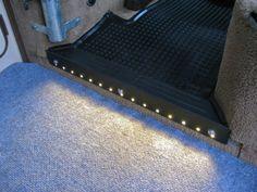 Step protector with LED lights Vw T3 Camper, Vw Bus T3, Volkswagen Transporter, Volkswagen Bus, Vw T3 Westfalia, Bus Interior, Interior Design, Interior Sliding Barn Doors, Campervan