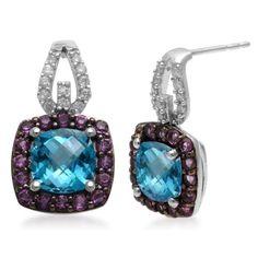 Jewelili Sterling Silver Dangle Earrings with Genuine Blue Topaz and Genuine Amethyst and Diamond Jewelili http://www.amazon.com/dp/B007OXJ92G/ref=cm_sw_r_pi_dp_sREPtb0SAHTD5HSE