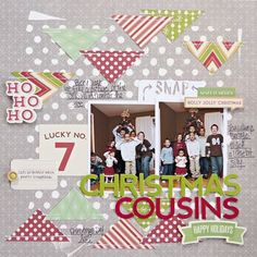 #Papercraft #Scrapbook #Layout. Jillibean Soup Bean Talk: Layouts on Thursday! - Christmas Cousins layout by Katie Rose
