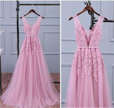 Lace Appliqued Tulle Long Prom Dresses,Peach Long Bridesmaid Dresses,APD2415