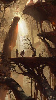 New landscape drawing fantasy digital art ideas Fantasy Magic, Fantasy World, Fantasy Forest, Art And Illustration, Art Illustrations, Creative Illustration, Character Illustration, Art Environnemental, Fantasy Places