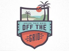Currently working on a logo/badge for a companies annual sales trip. Really liking how the palm tree sun, and border are interacting.