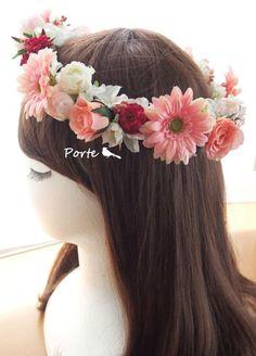 甘く可愛いガーベラの花冠 ウェディングブーケ・花冠・通販専門店「ぽると」