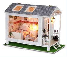 Met de hand gemaakt houten poppenhuis miniatuur diy kit- mooie en romantische poppenhuis meubels villa(China (Mainland))
