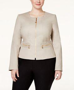 Calvin Klein Plus Size Zip-Front Collarless Jacket - Jackets - Women - Macy's