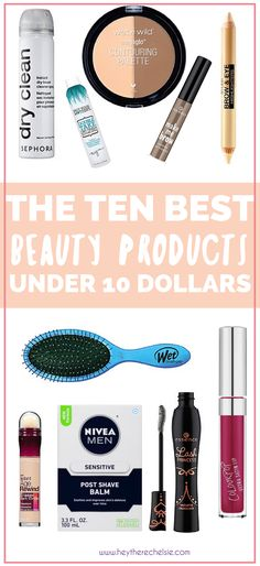 Rounding up ten of the BEST beauty and makeup products that are under 10 dollars. This is some of the best affordable drugstore makeup you can get your hands on, including some great drugstore makeup dupes! // Hey There, Chelsie