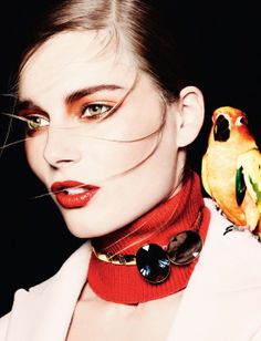 "Dior red orange eye shadow for beautiful green eyes and red orange lipstick Ieva Laguna in ""Colorama"" by Ben Hassett for Dior Magazine Beauty Editorial, Editorial Fashion, Beauty Photography, Fashion Photography, Color Photography, Editorial Photography, Christian Dior, Fabien Baron, Beautiful Green Eyes"