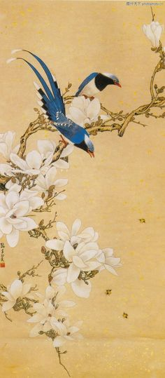 Wall screen with birds and blossoms: Japanese Artwork, Japanese Prints, Japanese Wall, Japan Painting, Ink Painting, Art Chinois, Fu Dog, Art Asiatique, Art Japonais